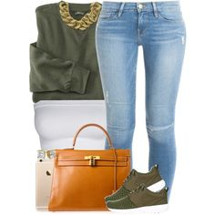 A fashion look from September 2015 featuring Frame Denim jeans, NIKE sneakers and Hermès handbags. Browse and shop related looks.