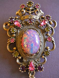 Sarah Coventry Brooch Pendant Vintage Fire Opal by LakeBreezes, $32.00