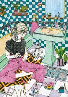 Pop Art Images, Bath Art, Bright Art, Art Competitions, Naive Art, Puzzle Art, Illustration Girl, Freelance Illustrator, Cool Drawings