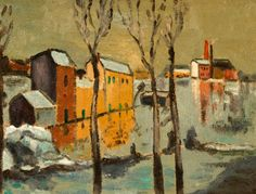 Style of Maurice De Vlaminck The Flood, Ivry Oil on Masonite Later attributed to the back and