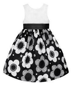 Loving this Black & White Floral Skirt Dress - Toddler on #zulily! #zulilyfinds