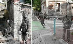 Ghosts of war: Artist superimposes World War II photographs on to modern pictures of the same street scenes #DailyMail