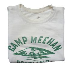 Camp Meehan Cut Off Vintage Sweat Leavers Hoodies, Athletic Fonts, Army Patches, Vintage Graphic Design, Outdoor Wear, Tee Design, Cool Items, Clothing Ideas, Vintage Looks
