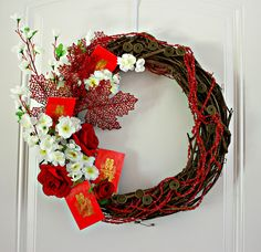 February festival: Autumn Harvest Wreath - Celebrate Chinese Moon Festival and Chinese New Year Chinese New Year Party, Chinese New Year Decorations, New Years Decorations, Chinese New Year Flower, Chinese New Year 2016, Chinese Christmas, Chinese Holidays, New Year's Crafts, Diy And Crafts