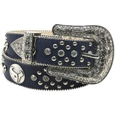 New York Giants Ladies Glitz Leather Belt - Royal Blue