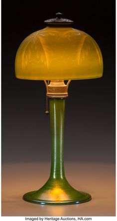 Tiffany Studios Engraved Green Favrile Glass Palm Desk Lamp Circa Engraved to shade L.Tiffany, Favrile, - Available at 2015 November 23 Tiffany,. Desk Lamp, Table Lamp, Studios, Louis Comfort Tiffany, Tiffany Lamps, Gilded Age, Lampe Led, Craftsman, Stained Glass
