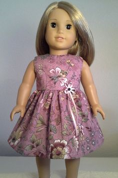 American Girl Doll Clothes Handmade 18 inch Light Purple Flower Print Dress made for American Girl Our Generation