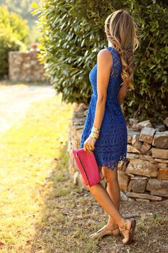 Shop this look on Lookastic:  http://lookastic.com/women/looks/blue-lace-shift-dress-hot-pink-suede-clutch-gold-thong-sandals/10478  — Blue Lace Shift Dress  — Hot Pink Suede Clutch  — Gold Thong Sandals