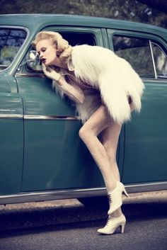 Retro fashion with retro green car ♥ App for woman driver - Car Warning Lights and problems, info on page Carwarninglight.com
