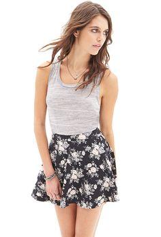 Muted Floral Skater Skirt #SummerForever