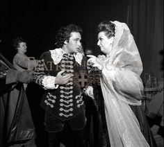 With Montserrat Caballe in 'Un ballo in maschera',La Scala,1975