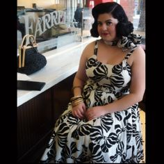 Jazzy 1955 looks beautiful in the Annette Dress and Bandana in Zebra Bows! #trashydivaannettedress #trashydivazebrabows