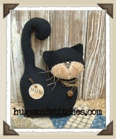 Country Crafts and Primitive Country Decor Fabric Crafts, Sewing Crafts, Sewing Projects, Craft Projects, Cat Crafts, Arts And Crafts, Country Crafts, Country Decor, Primitive Crafts