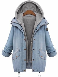 O-NEWE Denim Drawstring Twinset Hooded Jacket Outerwear - Newchic Plus Size Outerwear Mobile
