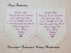 WEDDING GIFTS for GRANDMAS set of 2 Embroidered Wedding Handkerchiefs Personalized 2 gifts for Grandparents Napa Embroidery