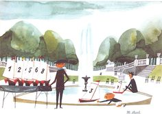 Watercolour with pen and ink, originally for 'This is Paris' (1959). The Luxembourg Gardens are the parklands of the French Senate housed in the Luxembourg Palace in the sixth arrondissement. But if you have grown up in Paris you will remember the Gardens for your experience of sailing the waters of the Grand Basin. Here …