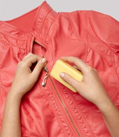 To budge a stiff zipper, hold the fabric taut and rub the soap along the front and back sides of the teeth. Then pull and see how smoothly it glides 44 Double-Duty Tips for Household Items Zipper Stuck, Fix A Zipper, 11 Clothing, Clothing Hacks, Simple Clothing, Amazing Life Hacks, Good Housekeeping, Everyday Items, Everyday Hacks