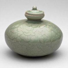 Oil Bottle with Flowering Lotus Stems, Koryo dynasty (918–1392), 12th century. Korea
