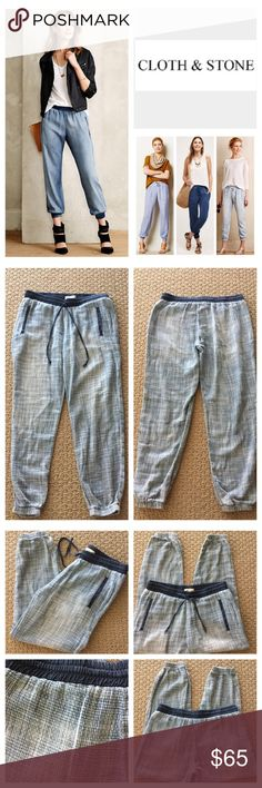 """🆕Anthropologie Cloth & Stone Jogger Pants.  NWOT. 🆕 Anthropologie Cloth & Stone Basket-Weave Print Jogger Pants, 100% cotton, machine washable, 31"""" elastic drawstring waist which stretches up to 36"""", 10"""" front rise, 14.5"""" back rise, 26"""" inseam, 10"""" elastic cuff leg opening all around, two front side pockets, elasticized banded drawstring, elastic cuff, fading, basket-weave with navy trim, measurements are approx.  New without tag, never worn.  NO TRADES Anthropologie Pants Track Pants…"""