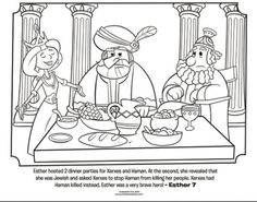 Kids coloring page from What's in the Bible? featuring Esther hosting a dinner party for King Xerxes and Haman from Esther 7. Volume 7: Exile and Return!: