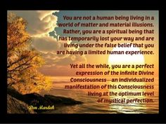 You are not a human being living in a world of matter by donmardak via slideshare