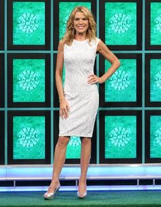 CACHE: White knit cocktail dress w/metallic silver abstract geometric pattern, scoop neckline, sleeveless, sheath style straight skirt   Wheel of Fortune   Vanna White's dresses