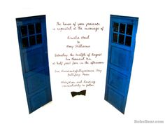 Doctor Who Inspired TARDIS Wedding Invitations, Blue Police Box Invites for Geek Weddings, Sample Card. $12.00, via Etsy.