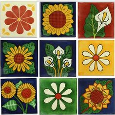 Flowers Mexican Tile Design Collection 9 Tiles Set * Check out the image by visiting the link. (This is an affiliate link and I receive a commission for the sales) Tile Art, Mosaic Art, Mosaic Glass, Tile Painting, Cork Crafts, Diy And Crafts, Mexican Ceramics, Art Populaire, Mexican Designs