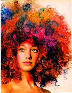 Marisa Berenson in a psychedelic coloured wig for Vogue US, October 1970. Photo by Berry Berenson.