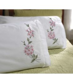 Bucilla Dogwood Branch Stamped Embroidery Pillowcase Pair, 20 inch x 30 inch, White Embroidery Designs, Crewel Embroidery Kits, Embroidery Transfers, Learn Embroidery, Silk Ribbon Embroidery, Hand Embroidery Patterns, Vintage Embroidery, Embroidery Thread, Embroidery Supplies