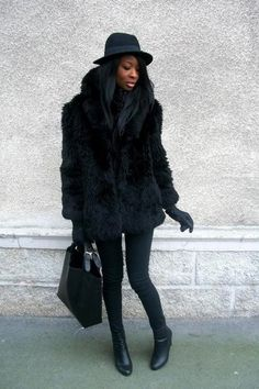 Dress up or down this black faux fur coat. 🖤 Mid-length Black Faux Fur Coat with pockets on the side. Fur Coat Outfit, Black Faux Fur Coat, Fashion Forever, Vintage Coat, Wearing Black, Black Jeans, My Style, Casual, Clothes