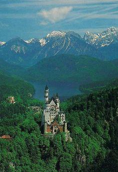 Neuschwanstein Castle Germany Cinderella Disney Art Print Postcard
