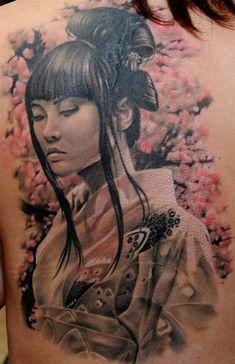 Back Realistic Geisha Tattoo by Radical Ink