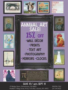 15% off all art on leftbankhome.net! #Peddlersvillage #NewJersey #artsale