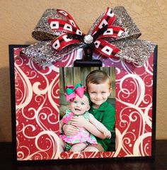 Christmas Red & Black Wood Block Photo Frame