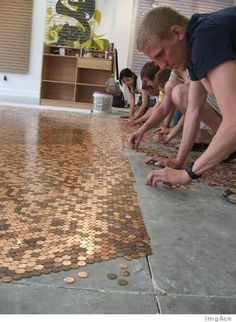 Awesome idea: create a copper-tiled floor...with pennies!