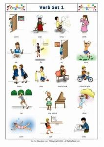 First ESL Verb Flashcards for young Learners