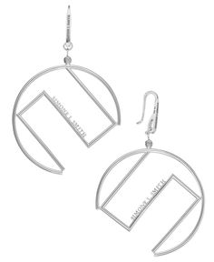 Sis by Simone I Smith Logo Drop Earrings in Platinum over Sterling Silver