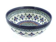 Mosaic Flower Cereal/Soup Bowl - Blue Rose Polish Pottery
