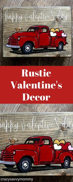 RUSTIC Valentine's Day Decor. SUPER CUTE red truck filled with hearts makes the perfect shelf or mantle Valentine's Day decor for the home. Handmade and hand painted. Click the link to get it NOW at Etsy.com! #valentinesdaydecor #valentinesideas #homedeco