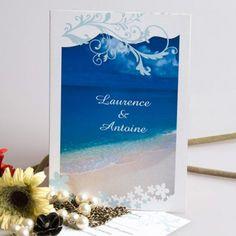 Bleu Marine Faire-Part Pour Mariage D'Été Romantique À La Plage JM415 |