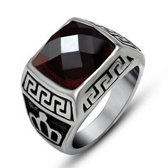 Punk Stainless Steel Ruby Men Ring Big Red Purple Natural Stone Finger Rings For Men Women Mens Rings Male Jewelry Accessory