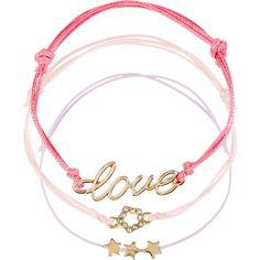 Monsoon 4 x Love Heart Friendship Bracelets ($12) ❤ liked on Polyvore featuring jewelry, bracelets, bracelet charms, heart charms, star jewelry, charm jewelry and heart bracelet