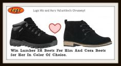 Win a pair of Lumber SR for him and for her a pair of the Cora boots in the color of choice!