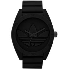 adidas Originals 'Santiago XL' Silicone Strap Watch, 50mm ($63) ❤ liked on Polyvore featuring jewelry, watches, accessories, fillers, black, sporty watches, kohl jewelry, silicone strap watches, black watches and retro jewelry