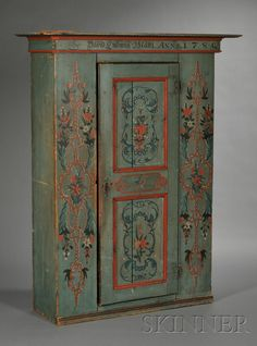 Swedish Painted Pine Armoire, with plain projecting crest,  dated 1780...