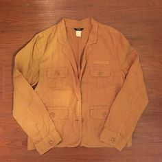 J crew jacket 100% Linen. size 6 fit like Medium Worn 2-3 times.The color is herd to describe: close to dark golden brown J. Crew Jackets & Coats Utility Jackets