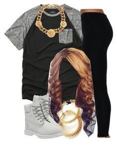 """""""The Trill Dolls Performance (Nautica's outfit)"""" by trillest-queen ❤ liked on Polyvore featuring Hollister Co., Timberland and Versace"""