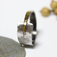 Wedding & Engagement Ring/ Unique Sterling Silver 24K von rosajuri