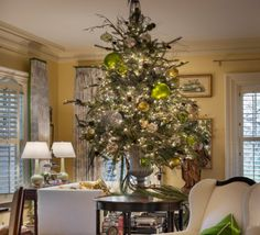 Christmas tree with lime green and gold ornaments - Nell Hill's